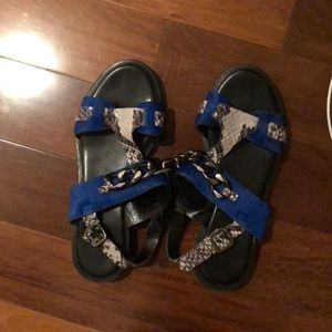 Topshop black and blue slides